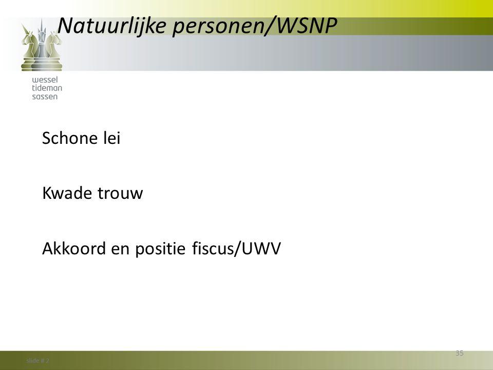 Natuurlijke personen/WSNP Schone lei Kwade trouw Akkoord en positie fiscus/UWV 35