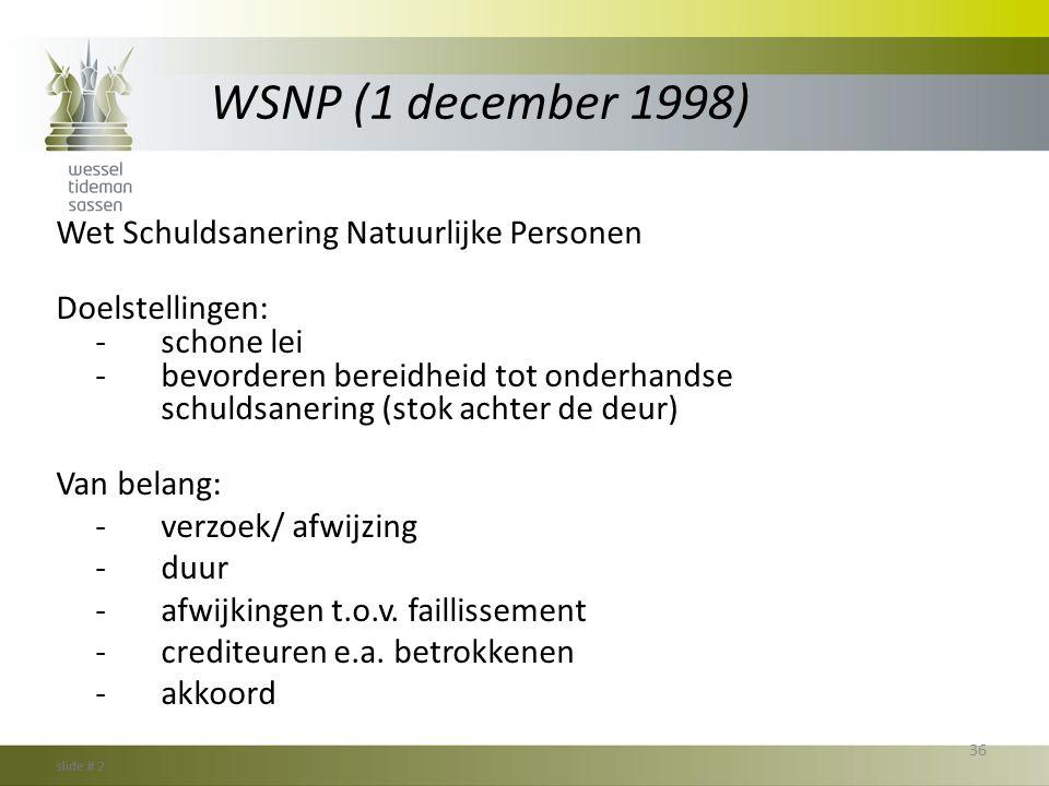 WSNP (1 december 1998) Wet Schuldsanering Natuurlijke Personen Doelstellingen: -schone lei -bevorderen bereidheid tot onderhandse schuldsanering (stok