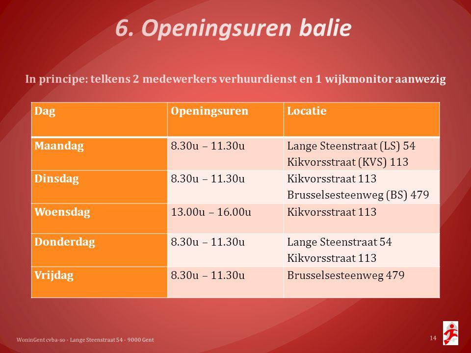 WoninGent cvba-so - Lange Steenstraat 54 - 9000 Gent 14 DagOpeningsurenLocatie Maandag8.30u – 11.30u Lange Steenstraat (LS) 54 Kikvorsstraat (KVS) 113