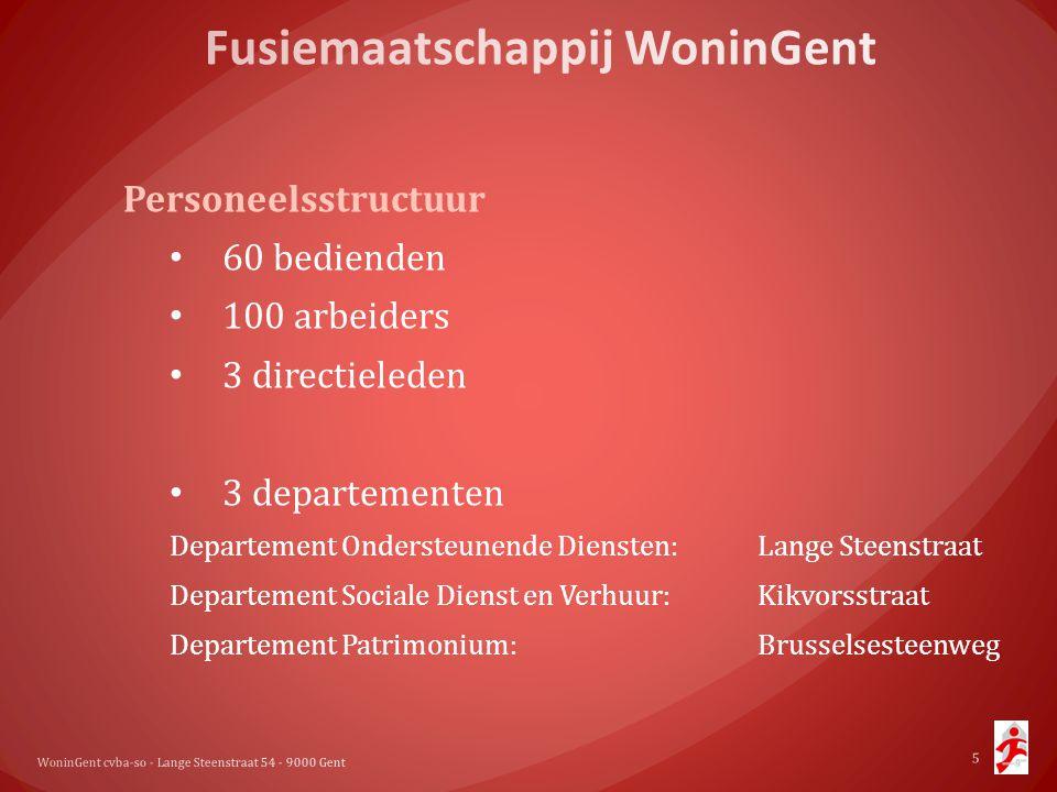 Personeelsstructuur • 60 bedienden • 100 arbeiders • 3 directieleden • 3 departementen Departement Ondersteunende Diensten: Lange Steenstraat Departem