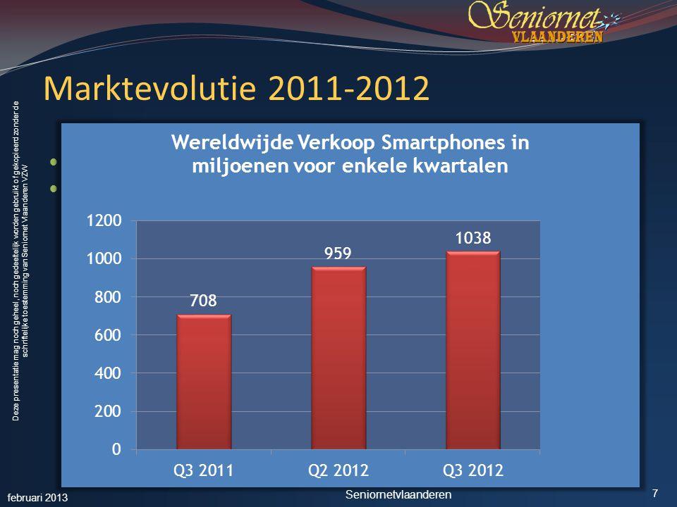 Deze presentatie mag noch geheel, noch gedeeltelijk worden gebruikt of gekopieerd zonder de schriftelijke toestemming van Seniornet Vlaanderen VZW Marktevolutie 2011-2012  Bron: Strategy Analytics (jan.