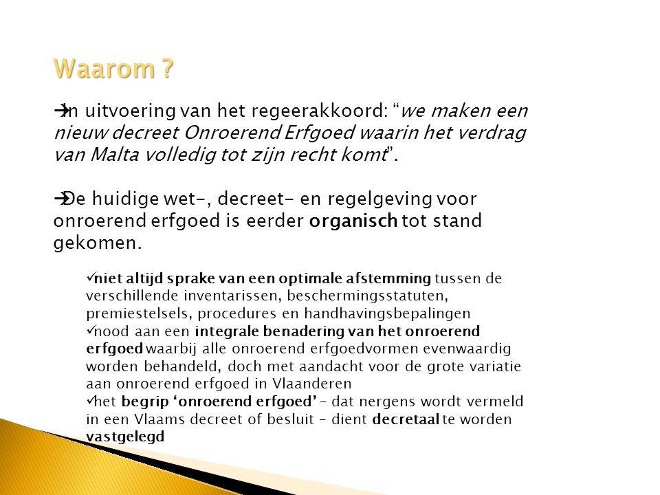 Werkwijze  conceptnota met inventaris van de knelpunten en uitdagingen waar het beleidsveld onroerend erfgoed vandaag mee te maken heeft en voorstellen  Ruimte voor discussie,  we ontvingen 50 reacties op het document dat digitaal raadpleegbaar was  de conceptnota werd voorgelegd aan de bevoegde Commissie binnen het Vlaamse parlement  er werd advies gevraagd de SARO, de KCML en de VLABEST  er werd bilateraal overleg gepleegd met belanghebbenden  De redactie van het nieuwe decreet gebeurde op basis van deze conceptnota en de aangereikte aanvullingen.