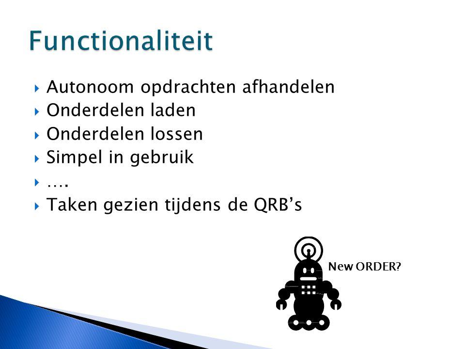  Autonoom opdrachten afhandelen  Onderdelen laden  Onderdelen lossen  Simpel in gebruik  ….  Taken gezien tijdens de QRB's New ORDER?