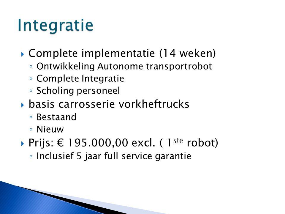  Complete implementatie (14 weken) ◦ Ontwikkeling Autonome transportrobot ◦ Complete Integratie ◦ Scholing personeel  basis carrosserie vorkheftruck