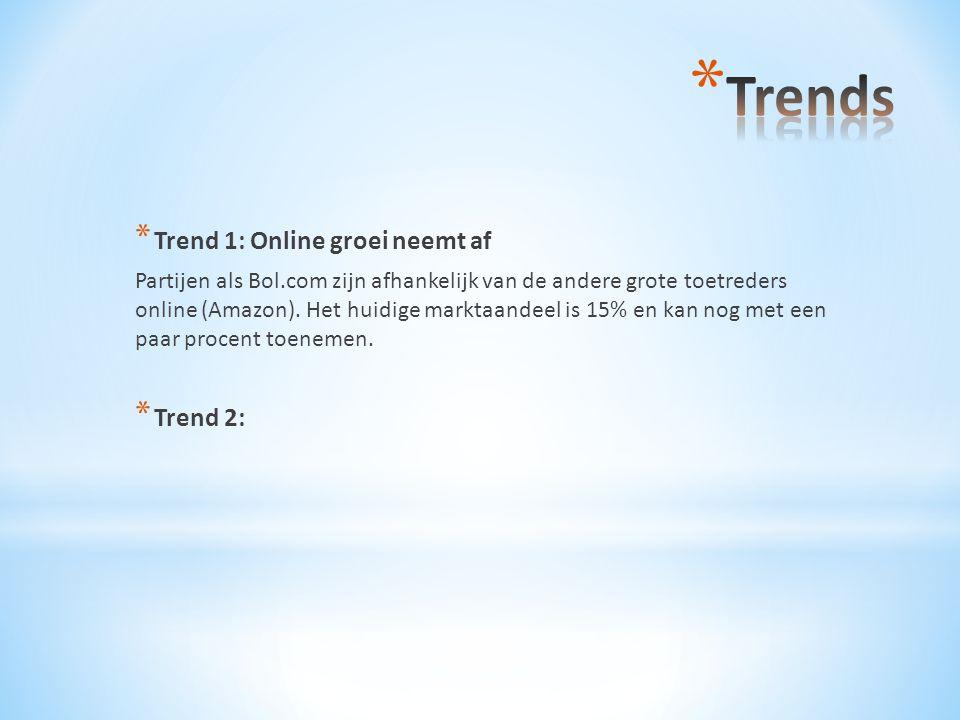 * Trend 1: Online groei neemt af Partijen als Bol.com zijn afhankelijk van de andere grote toetreders online (Amazon). Het huidige marktaandeel is 15%
