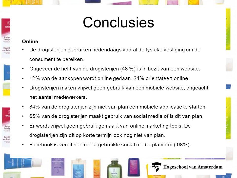 Conclusies Online •De drogisterijen gebruiken hedendaags vooral de fysieke vestiging om de consument te bereiken.