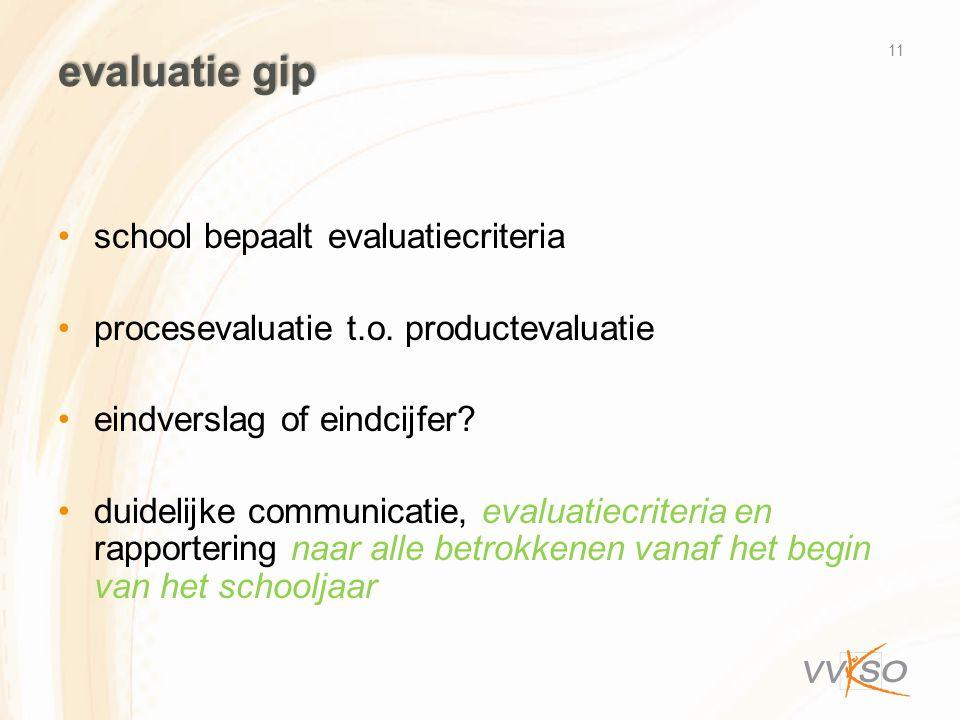 evaluatie gip •school bepaalt evaluatiecriteria •procesevaluatie t.o. productevaluatie •eindverslag of eindcijfer? •duidelijke communicatie, evaluatie