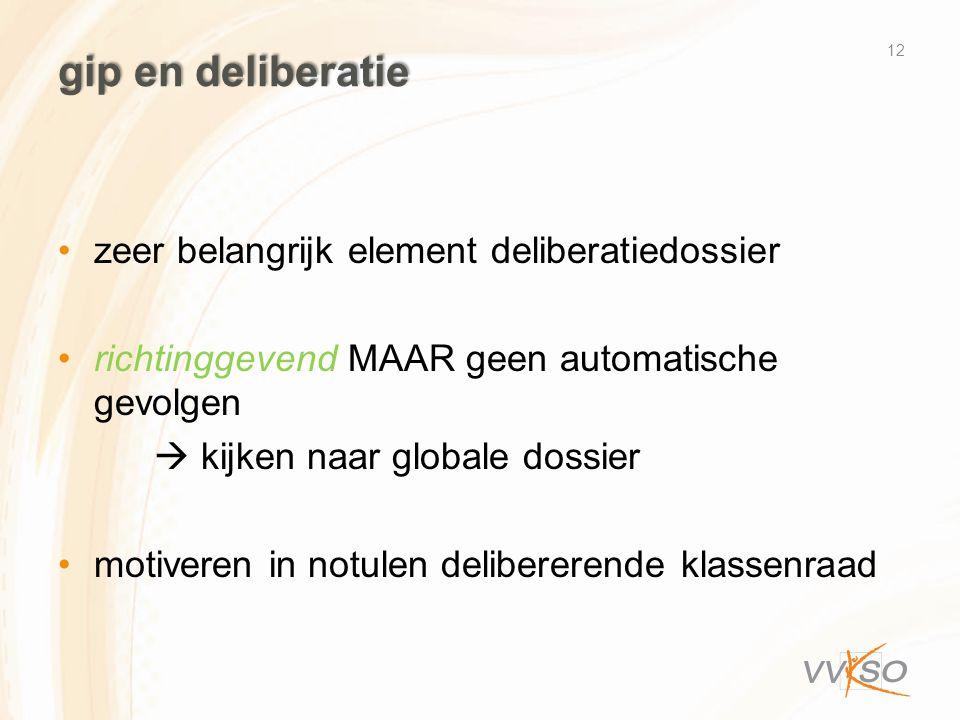 gip en deliberatie •zeer belangrijk element deliberatiedossier •richtinggevend MAAR geen automatische gevolgen  kijken naar globale dossier •motivere