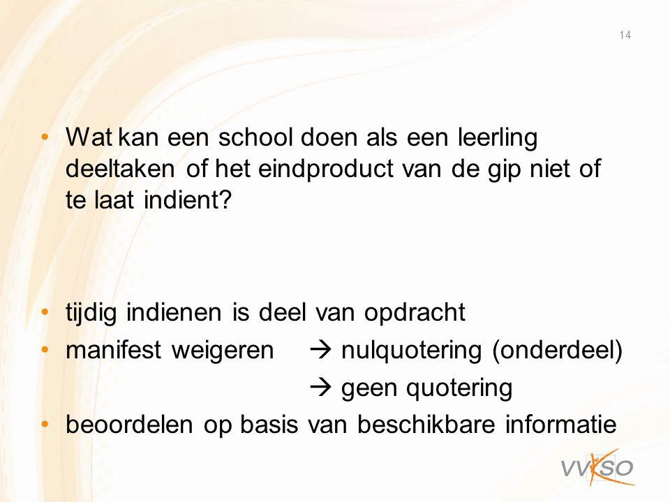 •Wat kan een school doen als een leerling deeltaken of het eindproduct van de gip niet of te laat indient? •tijdig indienen is deel van opdracht •mani
