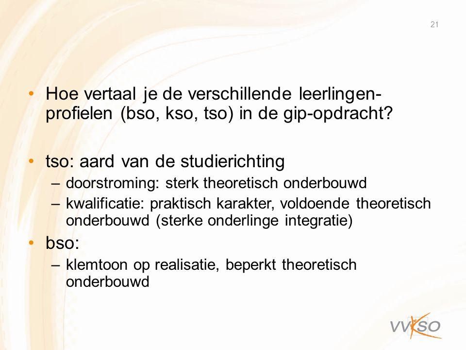 •Hoe vertaal je de verschillende leerlingen- profielen (bso, kso, tso) in de gip-opdracht? •tso: aard van de studierichting –doorstroming: sterk theor