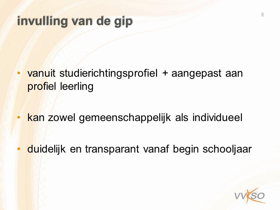 invulling van de gip •vanuit studierichtingsprofiel + aangepast aan profiel leerling •kan zowel gemeenschappelijk als individueel •duidelijk en transp