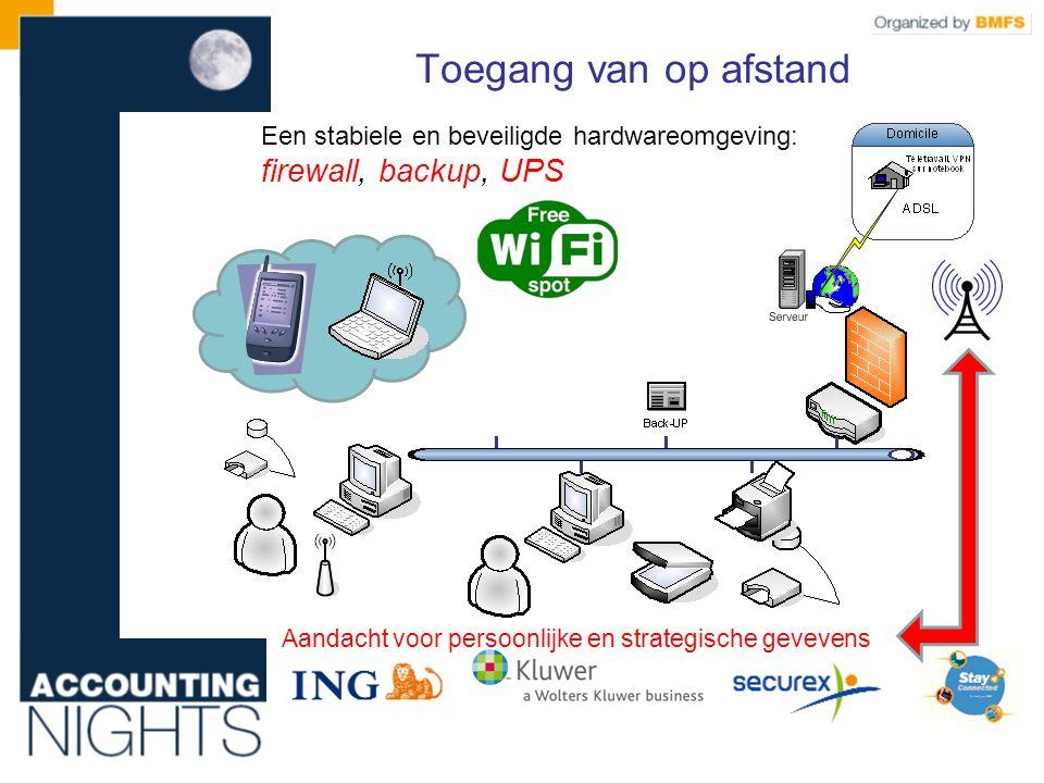 Een stabiele en beveiligde hardwareomgeving: firewall, backup, UPS Aandacht voor persoonlijke en strategische gevevens Toegang van op afstand