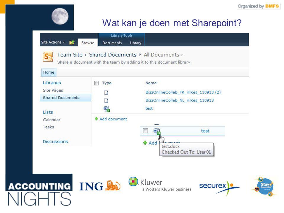 Wat kan je doen met Sharepoint