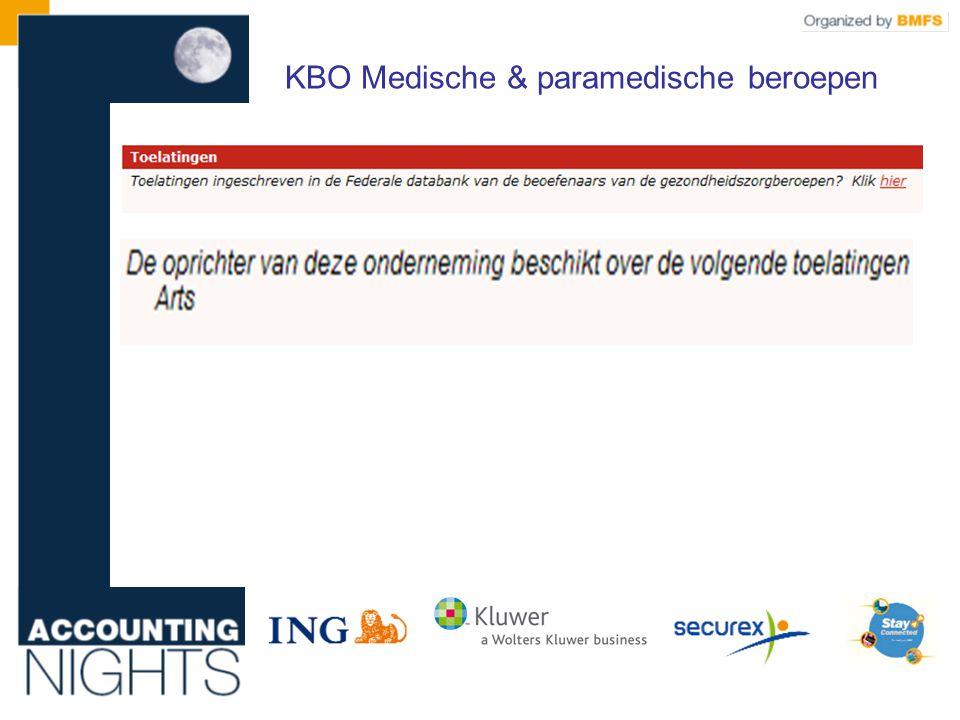 KBO Medische & paramedische beroepen