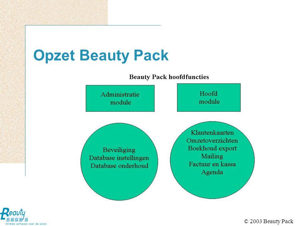 © 2003 Beauty Pack Agenda Bijhouden van individuele agenda's Afspraken invoeren achteraf en vooruit Rekening houden met bedrijfs- en individuele werktijden Beveiliging agenda's Uitstaande afspraken overzicht Weekagenda (5 en 7 daagse)