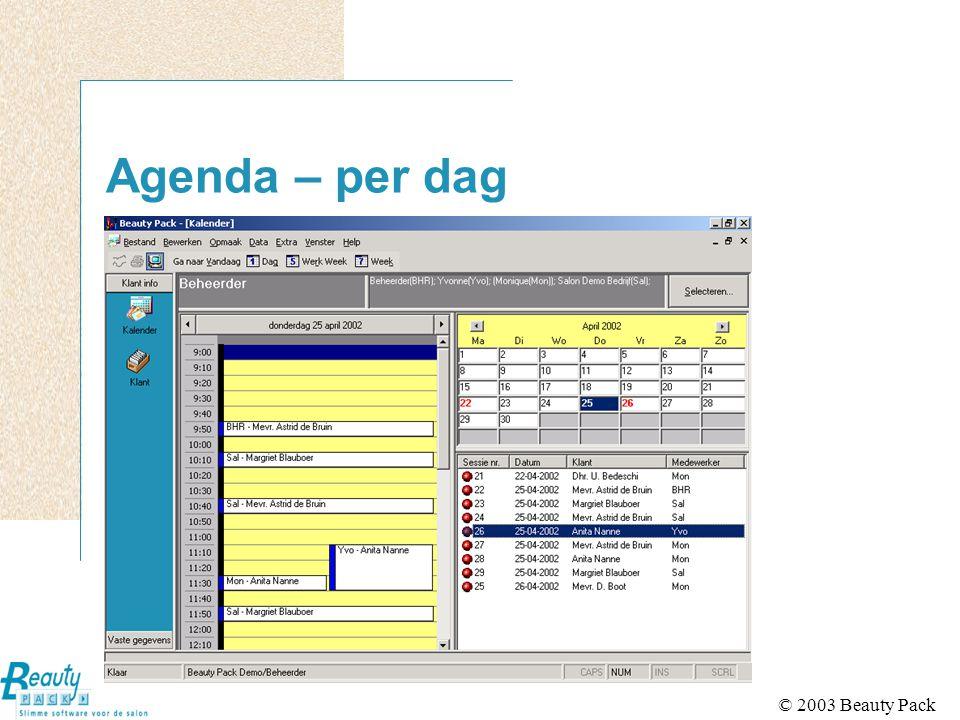 © 2003 Beauty Pack Diversen Heen en weer springen tussen schermen mogelijk (multi-tasking) Schermprint (hardcopy) op alle schermen In te stellen menubar (outlookbar) Startscherm zelf in te stellen Helpsysteem aanwezig Eenvoudige installatie met demodatabase