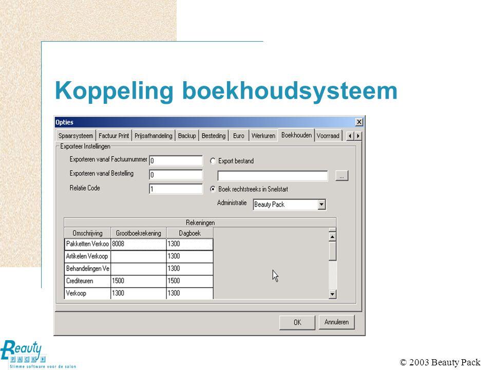 © 2003 Beauty Pack Koppeling boekhoudsysteem