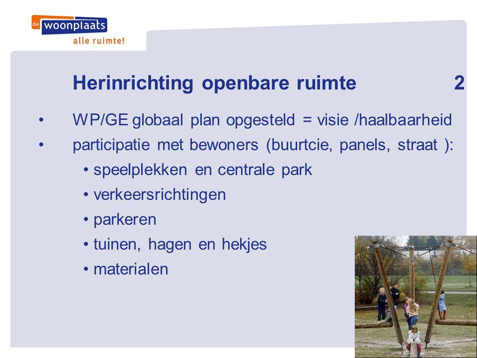 Herinrichting openbare ruimte2 •WP/GE globaal plan opgesteld = visie /haalbaarheid •participatie met bewoners (buurtcie, panels, straat ): • speelplek