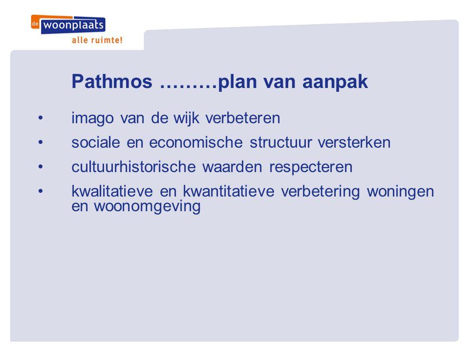 Pathmos ………plan van aanpak •6 trajecten • brede school • renovatie bestaande woningen • nieuwbouw op plek van slechtste woningen • wonen en zorg • wijkeconomie • herinrichting openbaar gebied.
