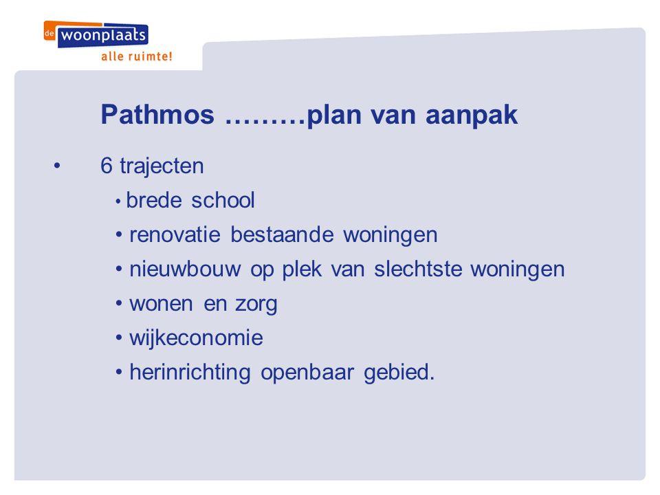 Pathmos ………plan van aanpak •6 trajecten • brede school • renovatie bestaande woningen • nieuwbouw op plek van slechtste woningen • wonen en zorg • wij