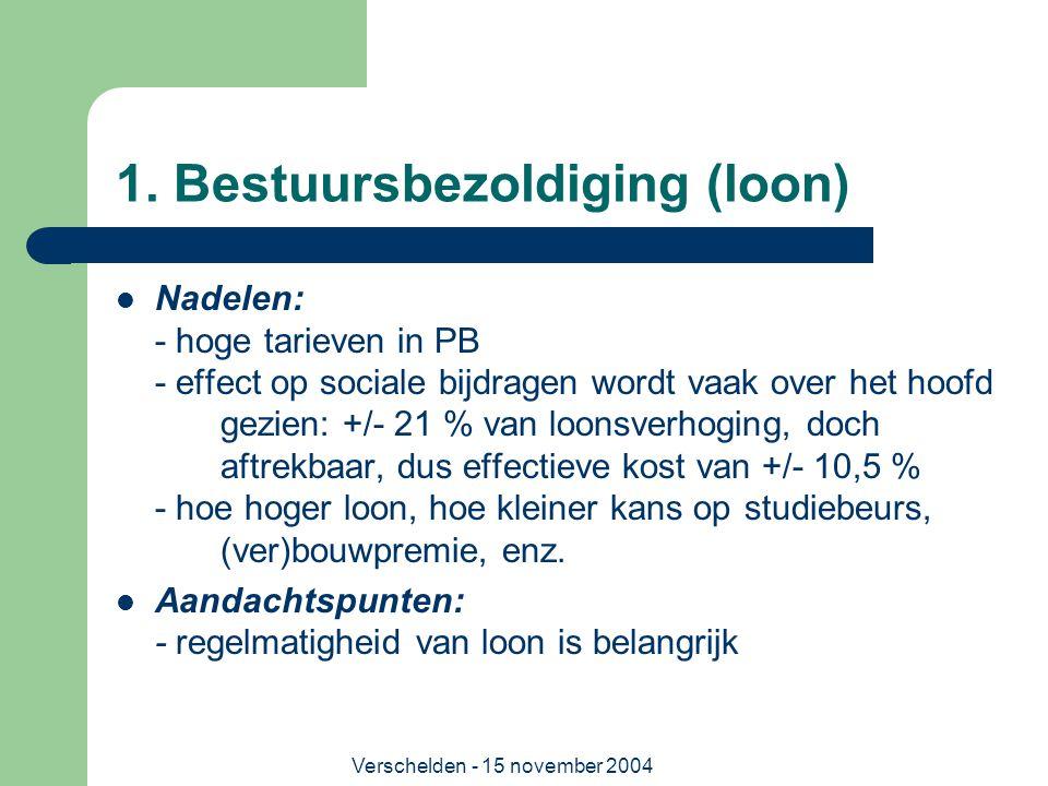 Verschelden - 15 november 2004 1. Bestuursbezoldiging (loon)  Nadelen: - hoge tarieven in PB - effect op sociale bijdragen wordt vaak over het hoofd