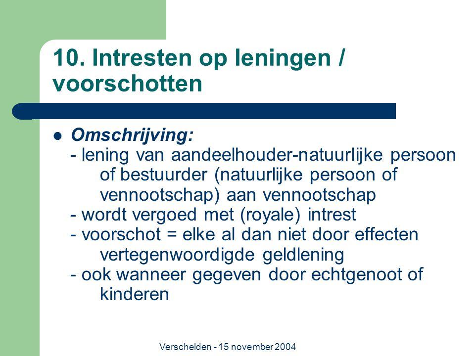 Verschelden - 15 november 2004 10. Intresten op leningen / voorschotten  Omschrijving: - lening van aandeelhouder-natuurlijke persoon of bestuurder (