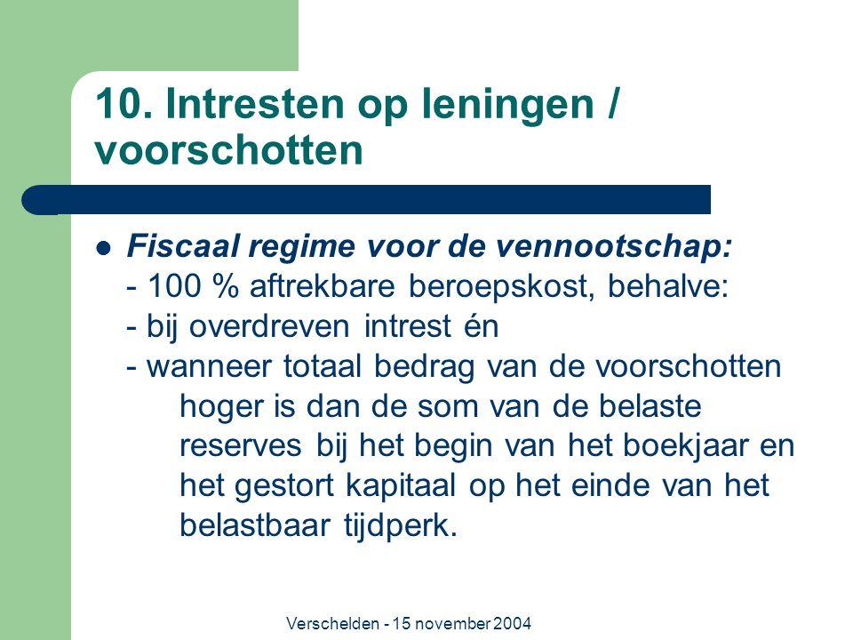 Verschelden - 15 november 2004 10. Intresten op leningen / voorschotten  Fiscaal regime voor de vennootschap: - 100 % aftrekbare beroepskost, behalve