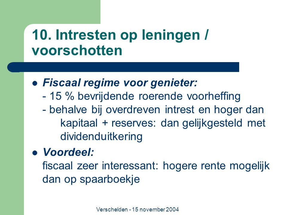 Verschelden - 15 november 2004 10. Intresten op leningen / voorschotten  Fiscaal regime voor genieter: - 15 % bevrijdende roerende voorheffing - beha