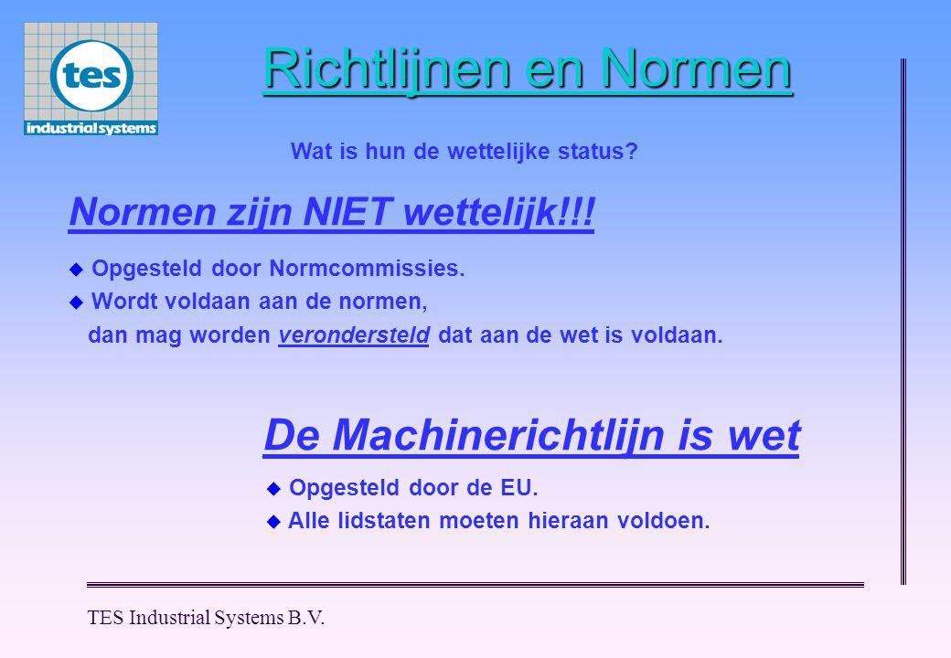 TES Industrial Systems B.V.Richtlijnen en Normen Normen zijn NIET wettelijk!!.