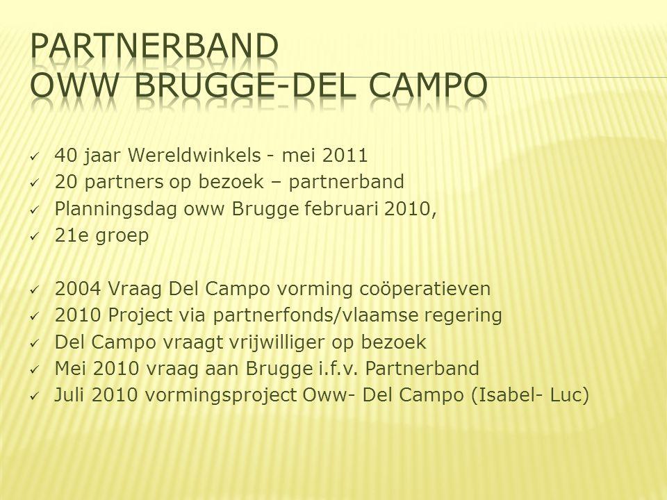  40 jaar Wereldwinkels - mei 2011  20 partners op bezoek – partnerband  Planningsdag oww Brugge februari 2010,  21e groep  2004 Vraag Del Campo vorming coöperatieven  2010 Project via partnerfonds/vlaamse regering  Del Campo vraagt vrijwilliger op bezoek  Mei 2010 vraag aan Brugge i.f.v.