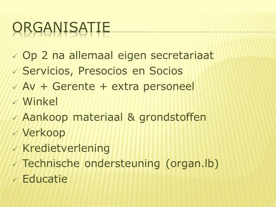  Op 2 na allemaal eigen secretariaat  Servicios, Presocios en Socios  Av + Gerente + extra personeel  Winkel  Aankoop materiaal & grondstoffen  Verkoop  Kredietverlening  Technische ondersteuning (organ.lb)  Educatie