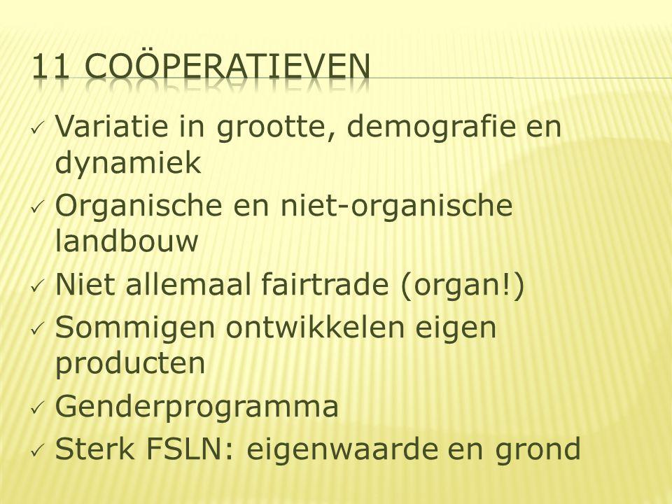  Variatie in grootte, demografie en dynamiek  Organische en niet-organische landbouw  Niet allemaal fairtrade (organ!)  Sommigen ontwikkelen eigen producten  Genderprogramma  Sterk FSLN: eigenwaarde en grond