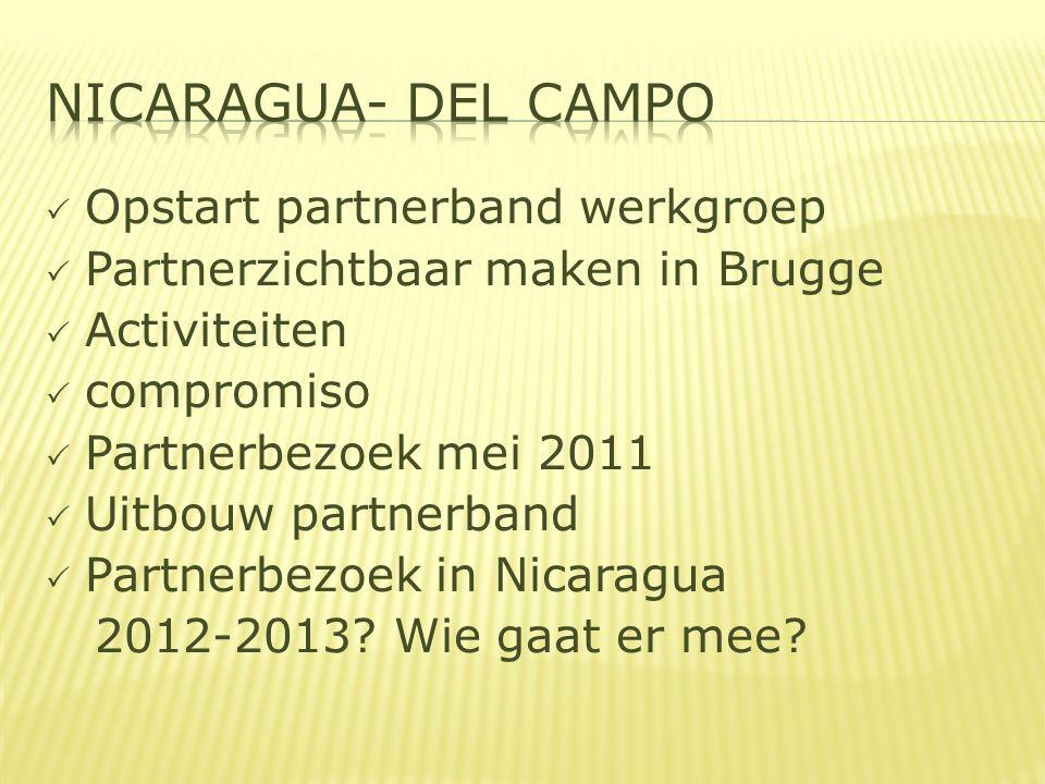  Opstart partnerband werkgroep  Partnerzichtbaar maken in Brugge  Activiteiten  compromiso  Partnerbezoek mei 2011  Uitbouw partnerband  Partnerbezoek in Nicaragua 2012-2013.