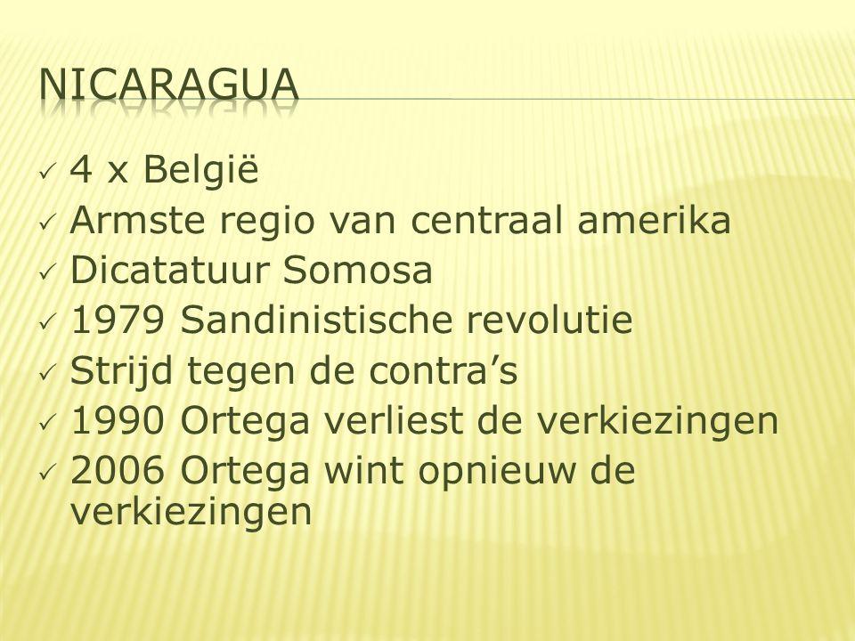  4 x België  Armste regio van centraal amerika  Dicatatuur Somosa  1979 Sandinistische revolutie  Strijd tegen de contra's  1990 Ortega verliest de verkiezingen  2006 Ortega wint opnieuw de verkiezingen