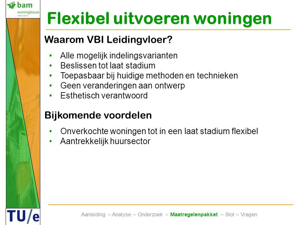Flexibel uitvoeren woningen Aanleiding – Analyse – Onderzoek – Maatregelenpakket – Slot – Vragen Waarom VBI Leidingvloer? •Alle mogelijk indelingsvari