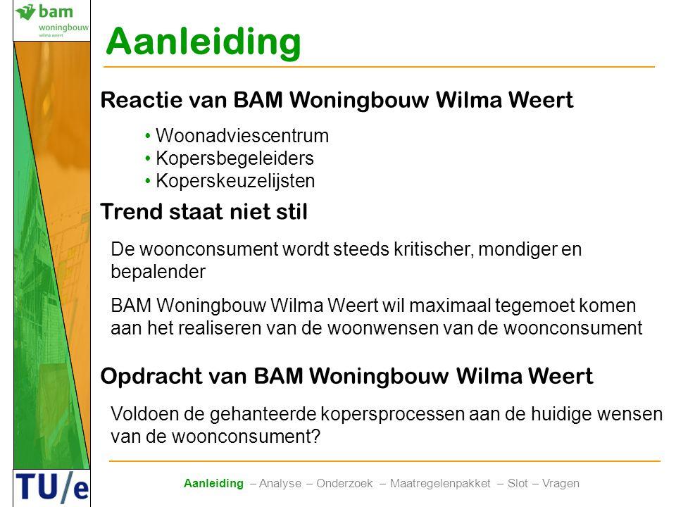 Aanleiding Trend staat niet stil De woonconsument wordt steeds kritischer, mondiger en bepalender BAM Woningbouw Wilma Weert wil maximaal tegemoet kom