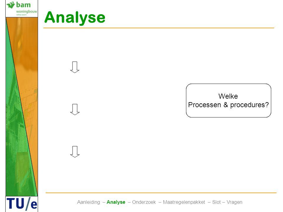 Verbeterpunten Interviews Zoeken naar verbeterpunten Literatuur & Interviews Analyse Aanleiding – Analyse – Onderzoek – Maatregelenpakket – Slot – Vra