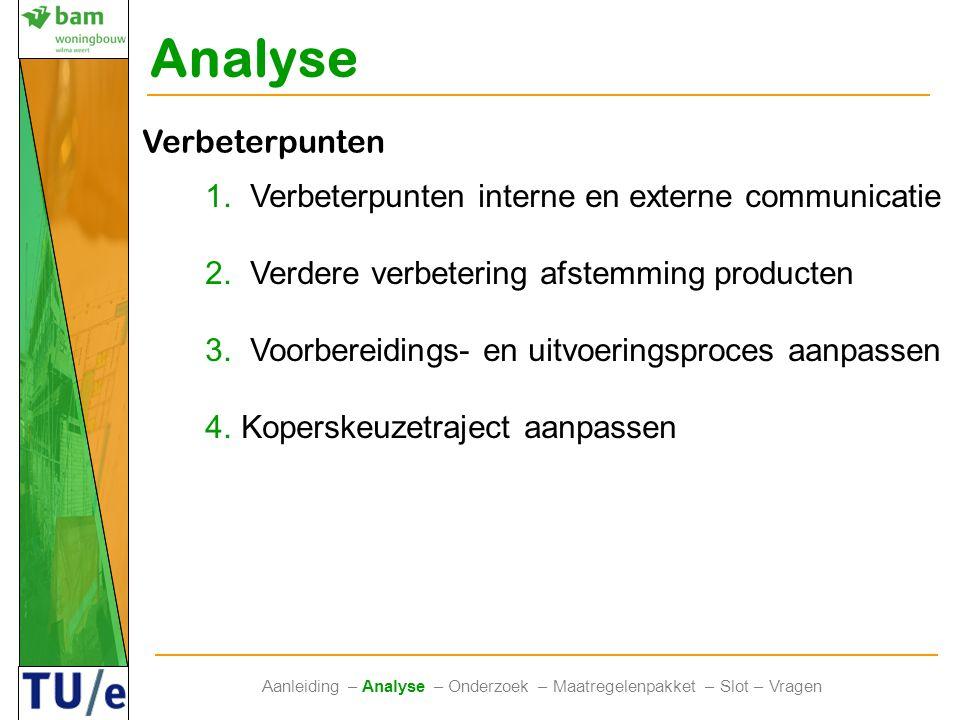 Analyse Aanleiding – Analyse – Onderzoek – Maatregelenpakket – Slot – Vragen Verbeterpunten 1. Verbeterpunten interne en externe communicatie 2. Verde