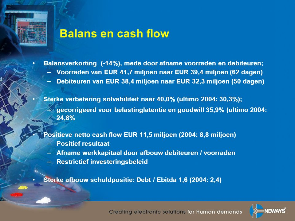 Balans en cash flow •Balansverkorting (-14%), mede door afname voorraden en debiteuren; –Voorraden van EUR 41,7 miljoen naar EUR 39,4 miljoen (62 dage