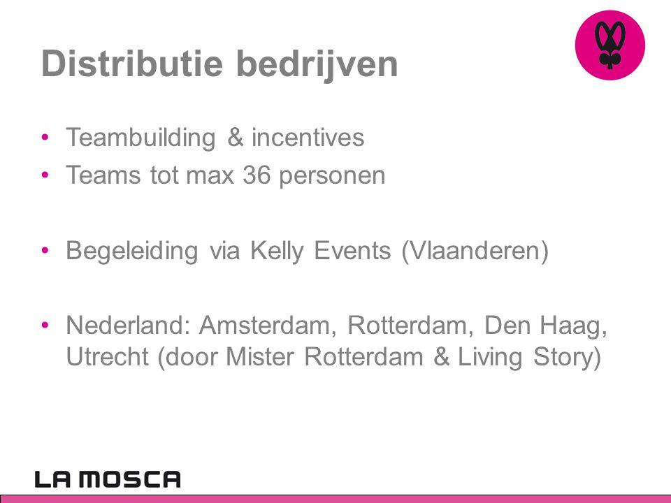 Distributie bedrijven •Teambuilding & incentives •Teams tot max 36 personen •Begeleiding via Kelly Events (Vlaanderen) •Nederland: Amsterdam, Rotterdam, Den Haag, Utrecht (door Mister Rotterdam & Living Story)