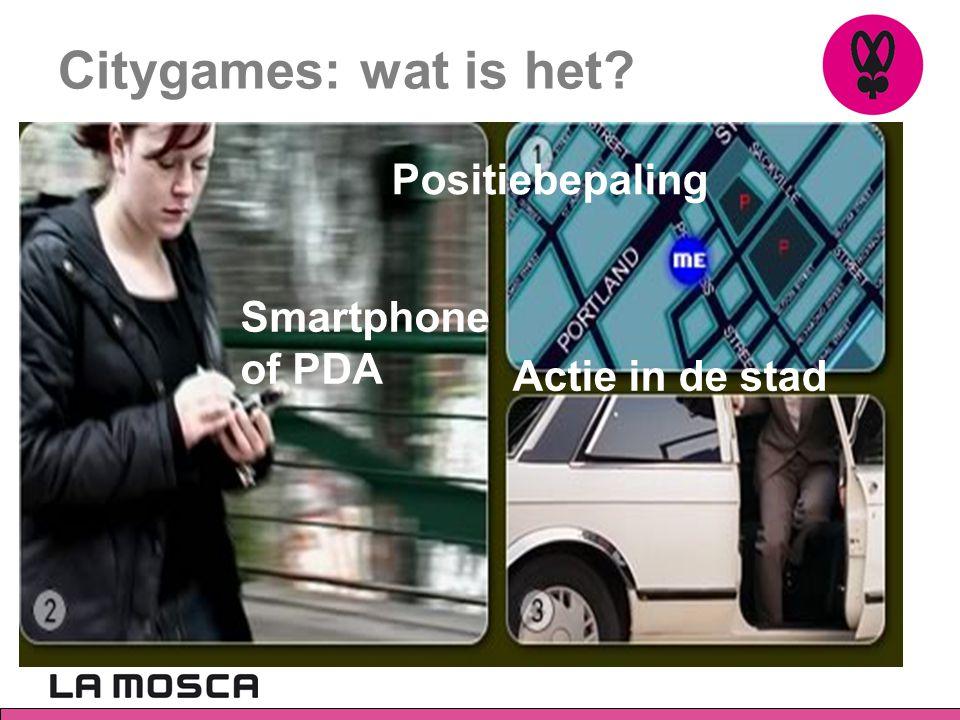Smartphones Spelscherm met: - Spelkaart, scores, tijdsverloop - Posities - Virtuele voorwerpen en personages - Openbare plaatsen zijn onderdeel van spel - Voor- en medestanders in de stad GSM stuurt deze info naar spelserver en terug