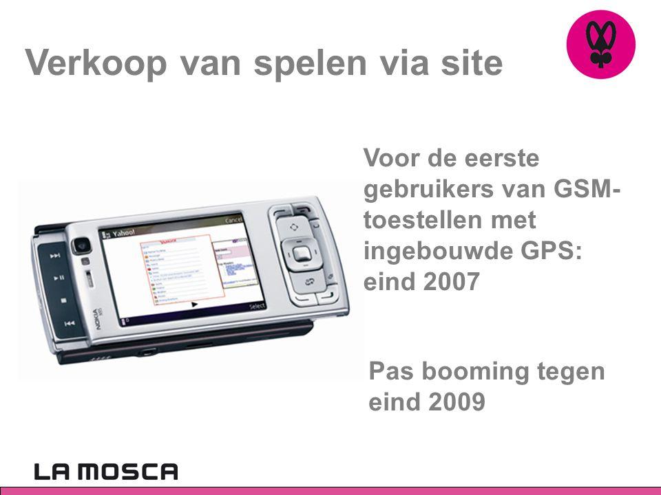 Verkoop van spelen via site Voor de eerste gebruikers van GSM- toestellen met ingebouwde GPS: eind 2007 Pas booming tegen eind 2009