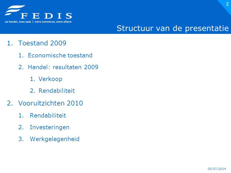 05/07/2014 2 Structuur van de presentatie 1.Toestand 2009 1.Economische toestand 2.Handel: resultaten 2009 1.Verkoop 2.Rendabiliteit 2.Vooruitzichten 2010 1.Rendabiliteit 2.