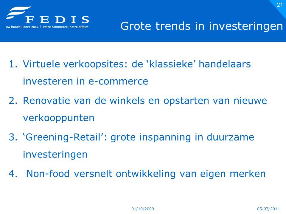 05/07/2014 Grote trends in investeringen 1.Virtuele verkoopsites: de 'klassieke' handelaars investeren in e-commerce 2.Renovatie van de winkels en opstarten van nieuwe verkooppunten 3.'Greening-Retail': grote inspanning in duurzame investeringen 4.