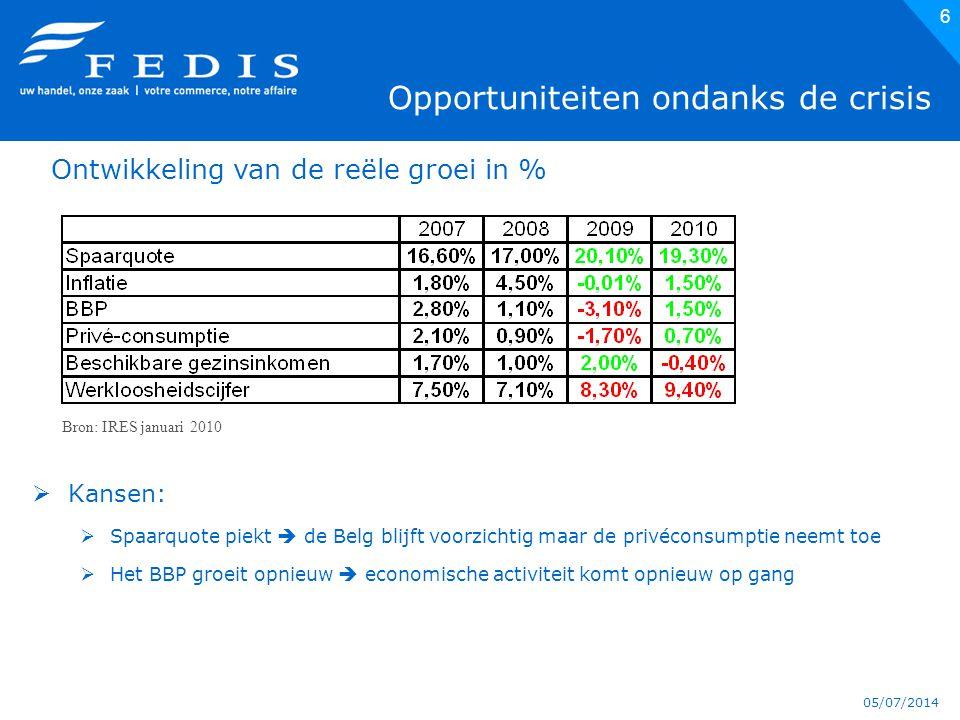 05/07/2014 6 Opportuniteiten ondanks de crisis  Kansen:  Spaarquote piekt  de Belg blijft voorzichtig maar de privéconsumptie neemt toe  Het BBP groeit opnieuw  economische activiteit komt opnieuw op gang Bron: IRES januari 2010 Ontwikkeling van de reële groei in %