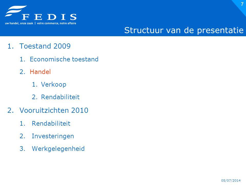 05/07/2014 7 Structuur van de presentatie 1.Toestand 2009 1.Economische toestand 2.Handel 1.Verkoop 2.Rendabiliteit 2.Vooruitzichten 2010 1.Rendabiliteit 2.