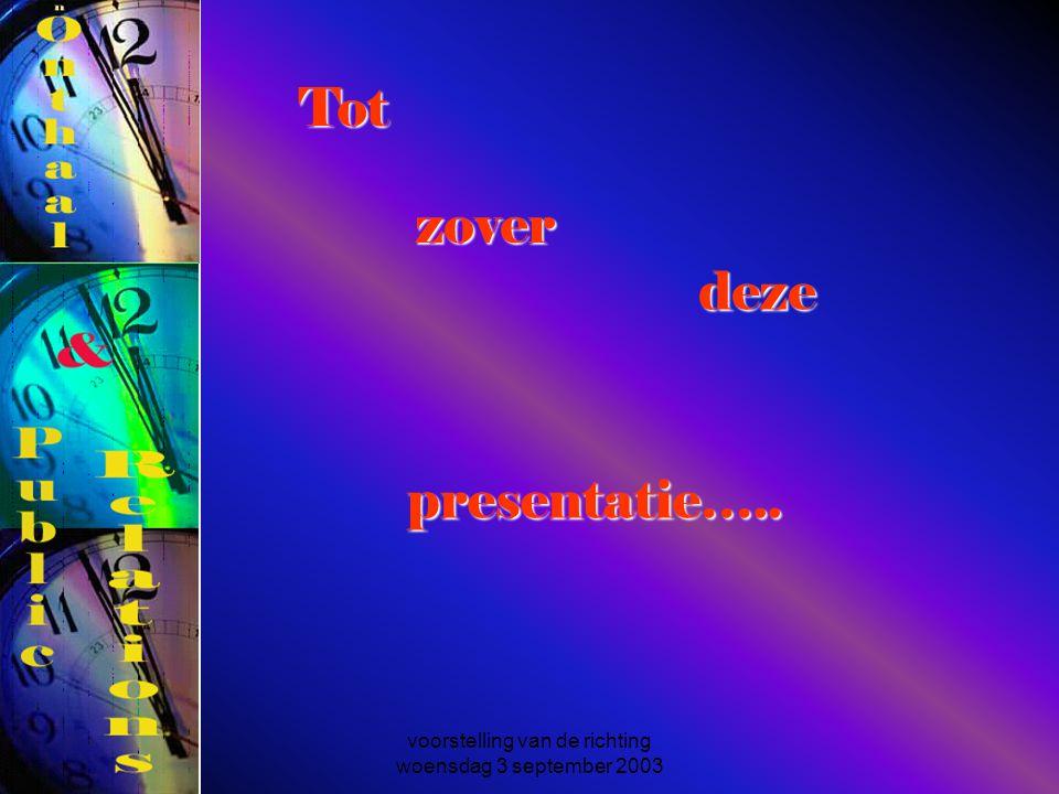 voorstelling van de richting woensdag 3 september 2003 presentatie….. Tot zover deze