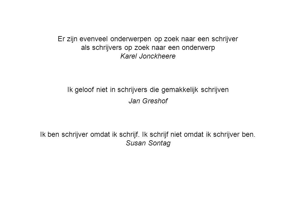 Er zijn evenveel onderwerpen op zoek naar een schrijver als schrijvers op zoek naar een onderwerp Karel Jonckheere Ik geloof niet in schrijvers die gemakkelijk schrijven Jan Greshof Ik ben schrijver omdat ik schrijf.
