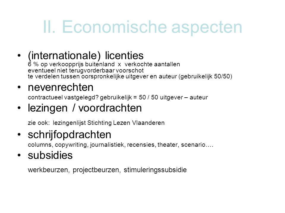 II. Economische aspecten •(internationale) licenties 6 % op verkoopprijs buitenland x verkochte aantallen eventueel niet terugvorderbaar voorschot te