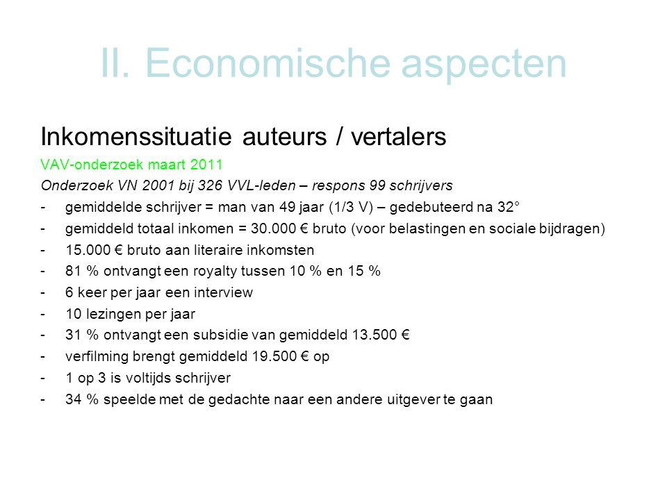 II. Economische aspecten Inkomenssituatie auteurs / vertalers VAV-onderzoek maart 2011 Onderzoek VN 2001 bij 326 VVL-leden – respons 99 schrijvers -ge